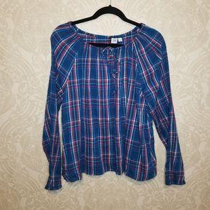 Gap patriotic plaid long sleeve blouse